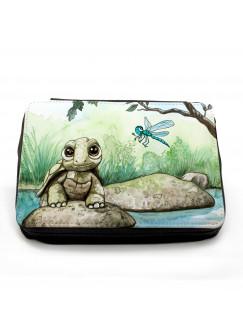 Gefüllte Federtasche Federmappe Schildkröte und Libelle mit Wunschnamen fm102