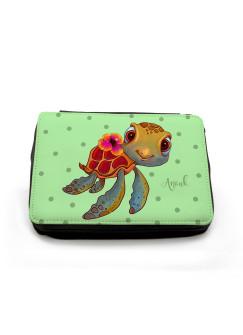 Gefüllte Federtasche Federmappe Schildkröte mit Punkten und Wunschname fm124 grün