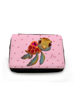 Gefüllte Federtasche Federmappe Schildkröte mit Punkten und Wunschname fm124 rosa