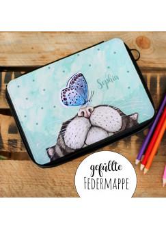 Gefüllte Federtasche Federmappe Federmäppchen mit Katze Schmetterling und Name Wunschname fm136