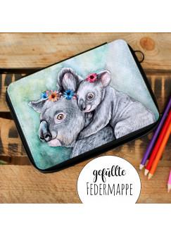 Gefüllte Federtasche Federmappe individuelles Federmäppchen Koalas und Name Wunschname fm138
