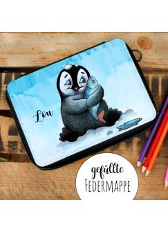 Gefüllte Federtasche Schulstart Federmappe individuelles Federmäppchen Pinguin und Name Wunschname fm141