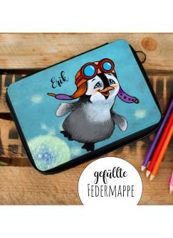 Gefüllte Federtasche Schulstart Federmappe individuelles Federmäppchen Pinguin Pilot und Name Wunschname fm142