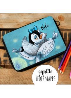 Gefüllte Federtasche Schulstart Federmappe individuelles Federmäppchen Pinguin Mädchen und Name Wunschname fm143