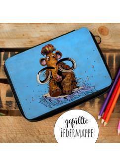 Gefüllte Federtasche Schulstart Federmappe individuelles Federmäppchen Mammut und Name Wunschname fm146