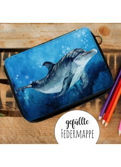 Gefüllte Federtasche mit Delfin Schulstart Federmappe individuelles Federmäppchen Delphin mit Namen Wunschnamen fm180