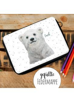 Gefüllte Federtasche Eisbär Bär mit Punkte Schulstart Federmappe individuelles Federmäppchen & Namen Wunschnamen fm197