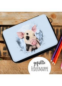 Gefüllte Federtasche Schwein Schweinchen Schulstart Federmappe individuelles Federmäppchen & Namen Wunschnamen fm204