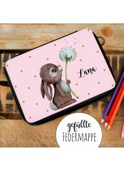 Gefüllte Federtasche in rosa Hase Häschen Pusteblume Schulstart Federmappe individuelles Federmäppchen & Wunschnamen fm222