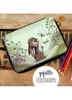 Gefüllte Federtasche Hase mit Pusteblume im Wald Schulstart Federmappe individuelles Federmäppchen & Wunschnamen fm227