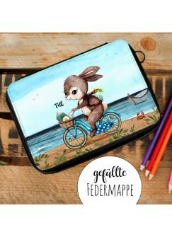Gefüllte Federtasche Hase auf Fahrrad am Meer Schulstart Federmappe individuelles Federmäppchen & Wunschnamen fm228