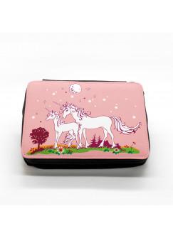 Gefüllte Federtasche Einhörner auf Wiese bei Nacht rosa fm006