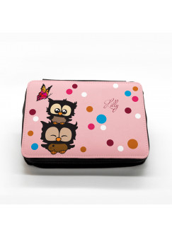 Gefüllte Federtasche Eulchen mit Punkten und Schmetterling rosa fm007