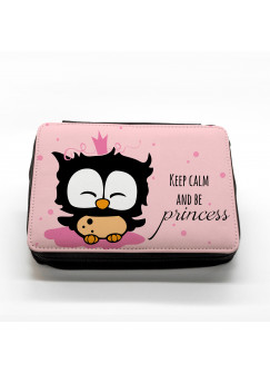Gefüllte Federtasche Prinzessin Eule keep calm and be princess in rosa fm017