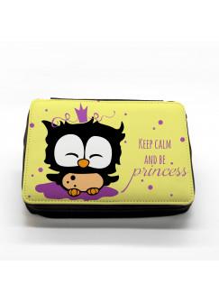 Gefüllte Federtasche Prinzessin Eule keep calm and be princess in gelb fm018