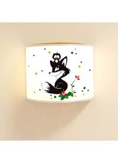 Wandlampe Schlummer-Lampe Lese-Schlummerlicht Fuchs und Eule mit Blumen und Punkten Ls44