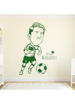 Wandtattoo Fussball Fussballspieler Bastian mit Wunschtext M1964