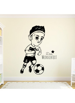 Wandtattoo Fussball Fussballspieler Mesut mit Wunschtext M1952