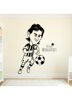 Wandtattoo Fussball Fussballspieler Lionel mit Wunschtext M1962