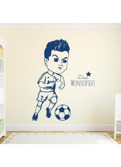 Wandtattoo Fussball Fussballspieler Ronaldo mit Wunschtext M1963