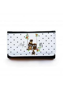 Große Geldbörse Eulchen auf Schaukel mit Schmetterling Fledermaus Punkten und Wunschnamen gbg020