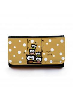 Portemonnaie große Geldbörse Brieftasche Eulchen auf Schaukel mit Punkten Schmetterlingen und Wunschnamen gbg023