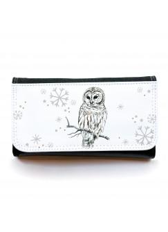 Große Geldbörse Eule Schneeeule Hedwig mit Schneeflocken gbg029