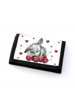 Portemonnaie Geldbörse Brieftasche Häschen mit Kirschen und Herzen gf20