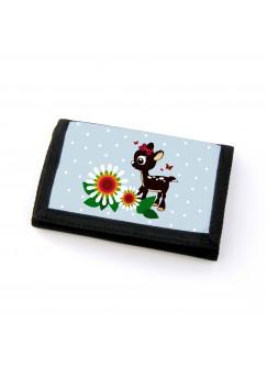 Portemonnaie Geldbörse Brieftasche Rehlein mit Blumen Schmetterlingen und Punkten gf22
