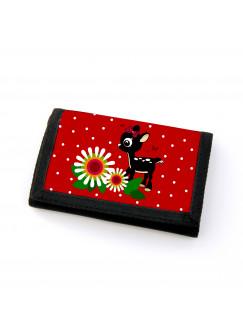 Portemonnaie Geldbörse Brieftasche Rehlein mit Blumen Schmetterlingen und Punkten gf23