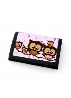 Portemonnaie Geldbörse Brieftasche Eulen Eulenfamilie auf Ast mit Herzen gf24