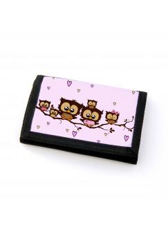Portemonnaie Geldbörse Brieftasche Eulen Eulenfamilie auf Ast mit Herzen gf28