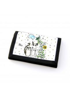 Portemonnaie Geldbörse Brieftasche Beste Freunde Katze und Hase mit Namen gf29