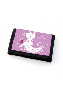 Portemonnaie Geldbörse Brieftasche Fee mit Schmetterling Sternen und Feder gf44