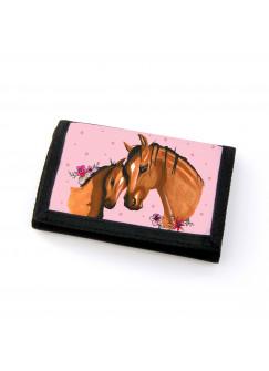 Portemonnaie Geldbörse Brieftasche Pferd mit Fohlen Punkten und Blumen gf45
