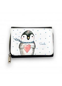 Geldbörse Pinguin smile mit Herz Schal und Punkten gk085