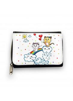 Geldbörse Kätzchen auf Regenbogen mit Wolken Herzen und Punkten gk086
