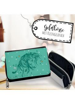 Geldbörse Pferd Portemonnaie Portmonee Wildpferd mit Schmetterlingen gk100