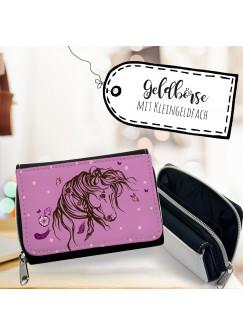 Geldbörse Pferd Portemonnaie Portmonee Wildpferd mit Schmetterlingen gk108