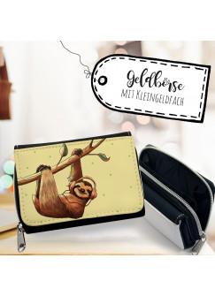 Geldbörse Faulpelz Portemonnaie Portmonee mit Faultier und Kopfhörer gk115