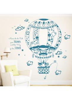 Wandtattoo Ballonfahrt Heißluftballon Fuchs Waschbär Eule auf Weltreise M1712