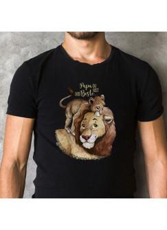 Herren T-Shirt mit Löwe Löwenjunges & Spruch Papa du bist der Beste Shirt schwarz in 4 Größen hs13