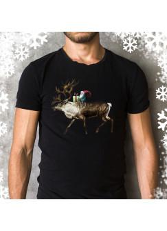 Herren T-Shirt Weihnachten Weihnachtsshirt mit Hirsch Rentier und Wichtel Weihnachtself hs2