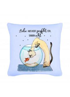 Kissen Katze mit Goldfisch und Spruch Liebe muss nicht perfekt sein... inklusive Füllung k37