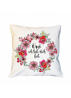 """Kissen Dekokissen in weiß mit Blumen & Spruch Zitat """"Omi Ich hab dich lieb"""" inklusive Füllung k72"""