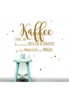 Wandtattoo Aufkleber Kaffee, die warme... mit Punkten M1897