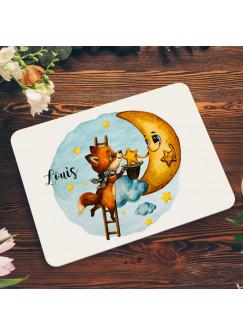 Frühstücksbrett aus Kunststoff Fuchs mit Mond & Wunschnamen für Kinder & Erwachsenen Frühstücksbrettchen Schneidebrett Küchenbrettchen kb2