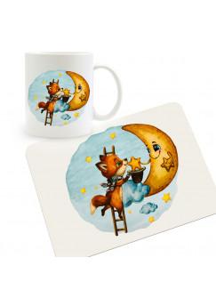 Frühstücksset Set aus Kunststoffbrett mit Tasse Fuchs mit Mond Wunschnamen für Kinder & Erwachsenen Frühstücksbrettchen Schneidebrett kb2Set