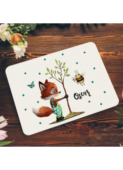Frühstücksbrett aus Kunststoff Fuchs mit Baum Biene & Wunschnamen für Kinder & Erwachsenen Frühstücksbrettchen Schneidebrett Küchenbrettchen kb4