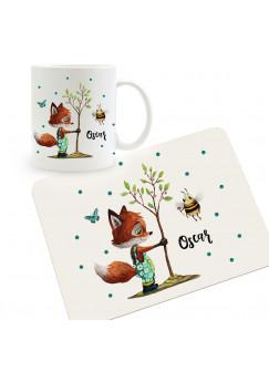 Frühstücksset Set aus Kunststoffbrett Fuchs mit Baum Biene & Wunschnamen für Kinder & Erwachsenen Frühstücksbrettchen Schneidebrett kb4Set